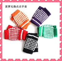 Wholesale 10pairs Women gloves Winter warmth mitten fingerless pineapple half computer gloves multi color