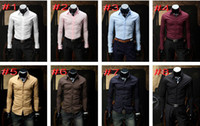 Dress Shirts uyuk - UYUK solid color men s shirts Cover placket design kinds of color long sleeved shirts