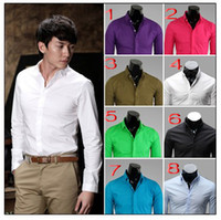 Wholesale UYUK Square Neck Men s solid color Slim long sleeved shirts Business casual fashion candy shirts