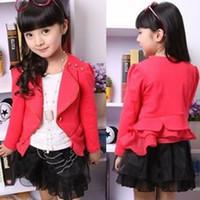 7-11 100-110-120-130 Red Red Girls' Overcoat Girls Outerwear Children's Long Sleeve Small Jacket Girls CoatGirls Fashion Suit