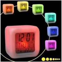 Wholesale Creative bright electronic glowing LED color changing digital alarm clock