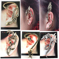 Wholesale Ear Cuff Mixed Designs Dragon Snake Alloy Earrings Golden and Silver Color