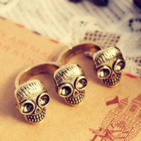 Wholesale Min Order Mix order New Design Vintage Punk Personality Skull DOUBLE FINGER RING E1213