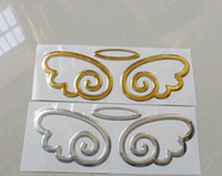 Wholesale Free Ship Auto Body Post D Stereo Car PVC stickers Silver Angel Wing Small Angel Automobile label
