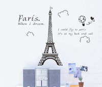Wholesale Eiffel Tower Paris City France Wall Art Stickers Decal Transfer V3240b