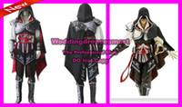 Wholesale Assasin s Creed II Costume Cosplay Custom Made Adults Black Assassin s Creed II Ezio Edition Cosplay
