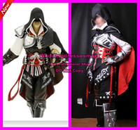 Wholesale Kids Assassin s Creed II Costumes Cool Custom Made Black Assassin s Creed II Cosplay Ezio Edition