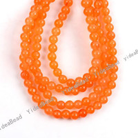 Wholesale 130 Orange Pure Stone charm Beads Jade Loose Spacer Bead Fit Chains Bracelet mm