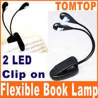 Wholesale Black Clip on Dual Arms LED Flexible Reading lamp Book Light for Music Stand ebook LAPTOPS H8580