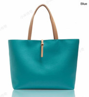 Wholesale Latest Candy Color Fashion PU Handbag Bag for Women Casual Beach Totes with Small Purse Shopper