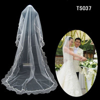 One-Layer Hot Sale !2 Layers Floor Length Lace Edge White &Ivory High Quality Long Tulle Wedding Veils