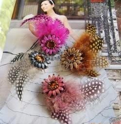 Cute Hair Pins Fascinators Feather Bag Fascinators Hats Ornaments 100pcs one lot 3 colors in