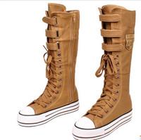 Wholesale New Hot Sale fashion high top belt zip flat shoes lace up casual canvas women boots EU35