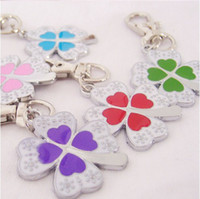 Wholesale Lucky Flower Dog ID Tags Dog Pets Four leaf Clovers Collar Necklace Pendant Tag