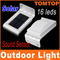 Wholesale 16 LEDs Sound Sensor Solar Powered Light Outdoor led Light lamp Wall Light Garden Lamp H8373