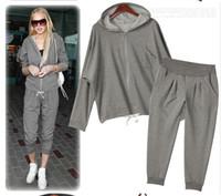 Wholesale new Women s sportswear suit leisure Bats sleeve loose Take cap Sportswear Suit Hoodies