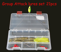 Wholesale Free Ship Set Professional New Rig Group Attack Fishing Lures Set Baits Tackle Hook Nice Box A20