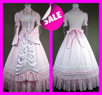 Wholesale Pink Vintage Gothic Victorian Wedding Dresses Elegant A Line Square Lace Lolita Cosplay Costumes