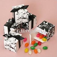Wholesale quot Two Sides Square Boxes with BLACK Ribbon Wedding Favors Boxes Party Favor Paper Boxes Wedding Favors Boxe