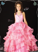 Wholesale ball halter Pink length line ball gown and Anke beautiful beaded Flower Girl Pageant Holiday prom