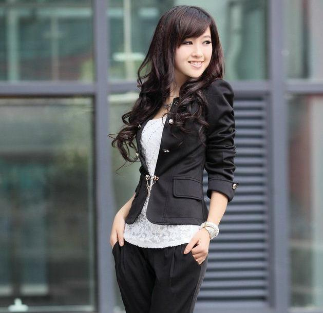 New Spring Fashion Women Slim fit Business Puffy Sleeves Suit Blazer