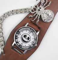 Wholesale Punk Gothic Ladies Women Men Unsex Skull Spider decorated Leather Blanck Brown Wrist Watch