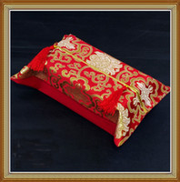 Wholesale Rectangle Tissue Box Cover Pattern High quality Silk Fabric Tassel Craft pack mix Free