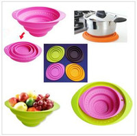 Wholesale The multi functional foldable convenience kitchen vegetable and fruit silicone basket