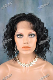 Wholesale EMS DHL free Gorgeous quot quot Indian remy human hair full Swiss lace wig jet black deep wave