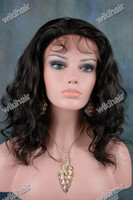 Wholesale EMS DHL free Glueless quot quot Indian remy full Swiss lace human wig B natural black body wave