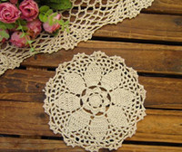 Wholesale cotton hand made Crochet cup mat Ecru Doily Natural color CMX16CM