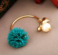 Wholesale Daisy Of Love Chiffon Flowers Bracelets Pearl Bracelets