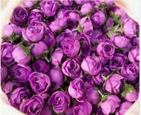Wholesale 100pcs Dark purple Roses Artificial Silk Flower Heads Wedding Bridal Bouquet Room table Decoration quot