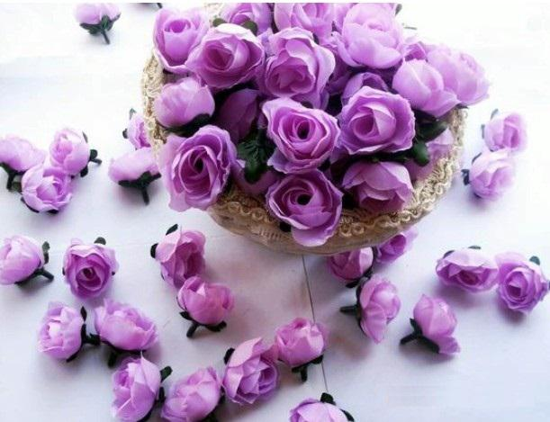 Type 1 light purple roses artificial silk flower heads wedding bridal bouquet - Bouquet fleur artificielle ...