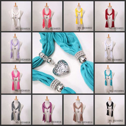 Wholesale Hot sale Fashion Heart Pendant Scarf Jewelry Scarves Pendant Necklace Scarves Colors Mix Scarf Accessories Factory Produce
