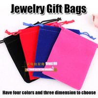 Wholesale Jewelry Pouches velvet Bag LOGO Print colors Silver Rings Jade Necklace Pearl Bracelet Golden Bangle Gift cheap DIY Packaging Holoder