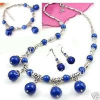 Wholesale Charming Tibet Silver Lapis copy necklace bracelet earring set fashion jewelry