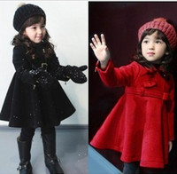 3-8Y 100/110/120/130/140cm black/red 2012 Free Shipping Baby Girls Coat ,Wool Coat ,black red overcoat 1pc lot