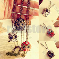 Wholesale 5 Fashione Retro Vintage Cute Lovely Rhinestone Owl Pendant Long Necklace