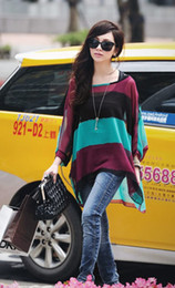 Hot Womens Fashion Two-piece Blouses Colorful Stripe Bat-wing Sleeve Chiffon Tops Blouse Green Red