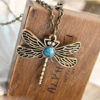 Wholesale 5 Retro Vintage Bronze Hollow Dragonfly with Big Stone Pendant Necklace S153