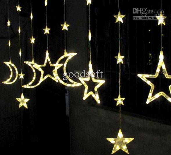 Star Moon String Lights : Cheap 2 M *1 M Stars Moon Lights Curtains Led Light String Window Decoration Lights Star String ...