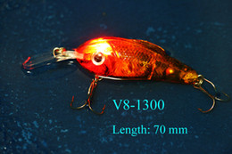 7cm 17g LED Fishing Lure Crank Floating Lure Hard Plastic Bait Fishing Tackle Casting Bait In water with a Red Flashing Lights