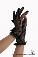 Wholesale good price black sheer Short wrist length floral lace gloves factory supplier