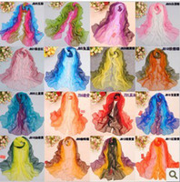 Wholesale Scarves long section of the multi color chiffon georgette scarf sun shawl