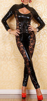 People Women Sexy Costumes SEXY NEW BLACK & LACE LEATHER PVC LOOK STRETCH CLUBBING CATSUIT PLAYSUIT