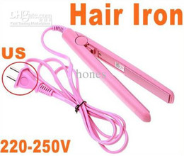 Wholesale Mini Pink Portable Ion Electronic Hair Straightener V W Straightening Flat Iron HB4802