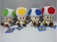 Wholesale New Super Mario Brothers Mushroom Plush Figure quot Yellow Green Blue Red Toad dolls plush toys