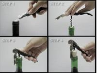Wholesale Black burgandy Stainless Steel Metal Cork Screw Multi Function Red Wine bottle Opener