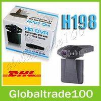 "1 channel 2.5 LCD H198 HD Car DVR Camera Blackbox 2.5"" Vehicle Video Voice Recorder Cam 6 IR LED Night Video 60pcs Free DHL"